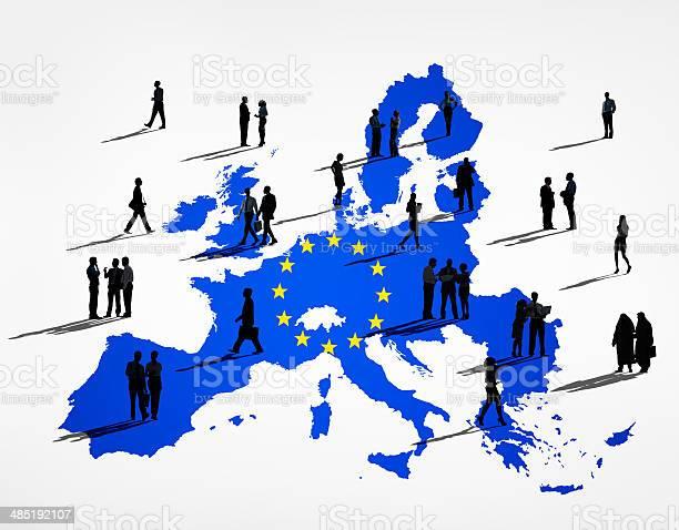 Blu Cartografia Dellunione Europea In Sfondo Bianco - Fotografie stock e altre immagini di Adulto