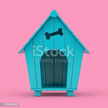 Blue Cartoon Dog House Mockup Duotone on a pink background. 3d Rendering