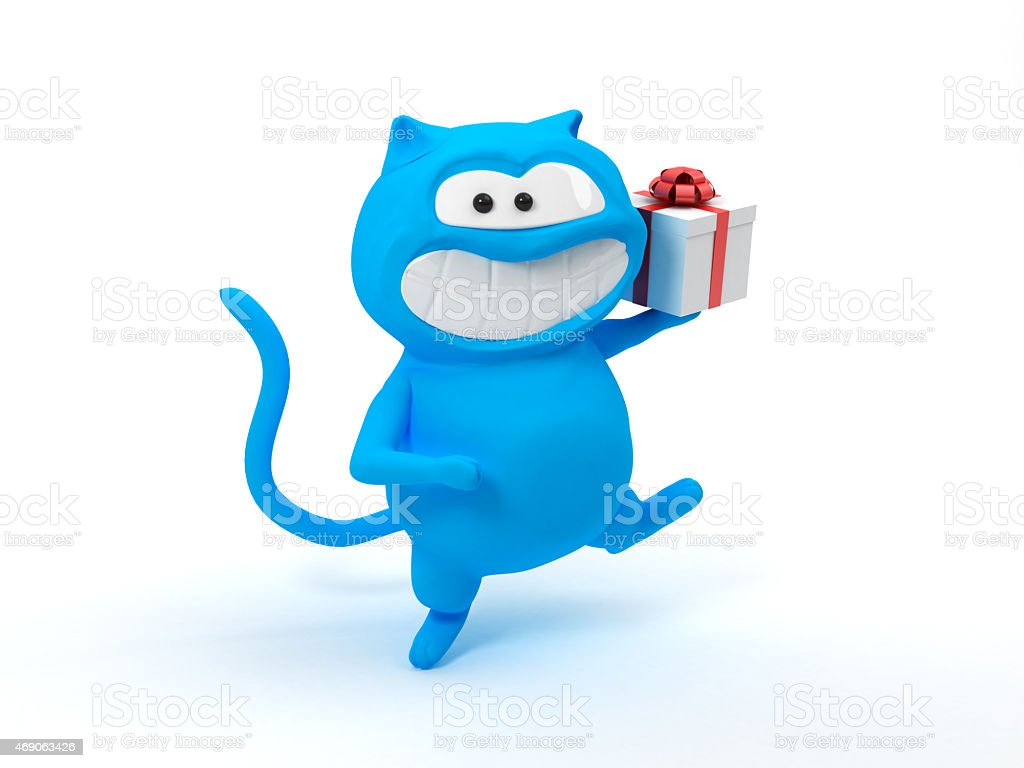 blue cat with gift stock photo
