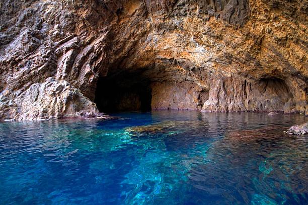 Blue cave in the sea, Palmarola, Italy stock photo
