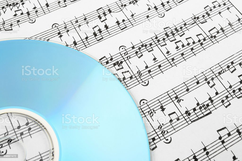 Blue CD and music notes royalty-free stock photo