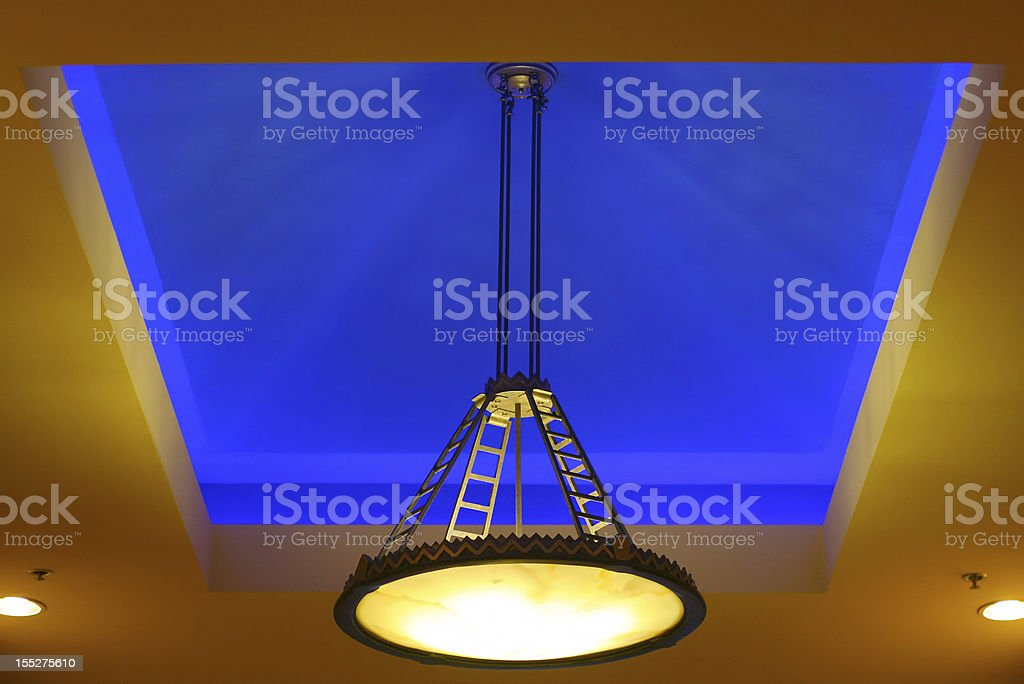 Blue ceiling lighting treatment royalty-free stock photo