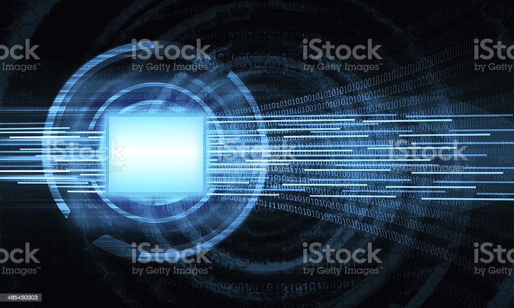 blue central processing unit abstract background stock photo