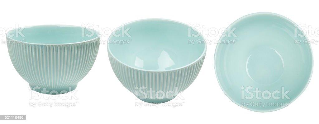 Blue ceramic bowl isolated on white background stock photo
