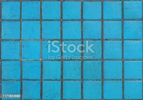 Close up ceramic mozaic floor tiles texture blue color