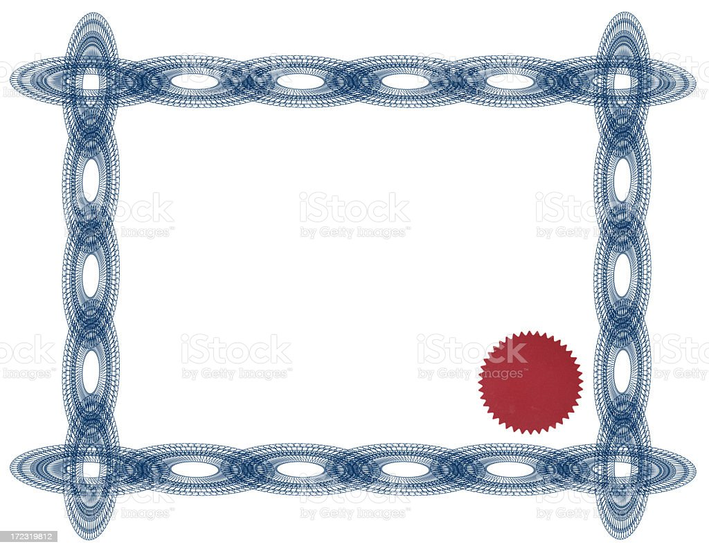 Blue certificate and red seal royalty-free stock photo