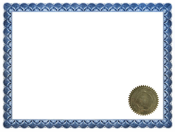 Blue certificate with gold seal Blue certificate with gold seal. insignia stock pictures, royalty-free photos & images