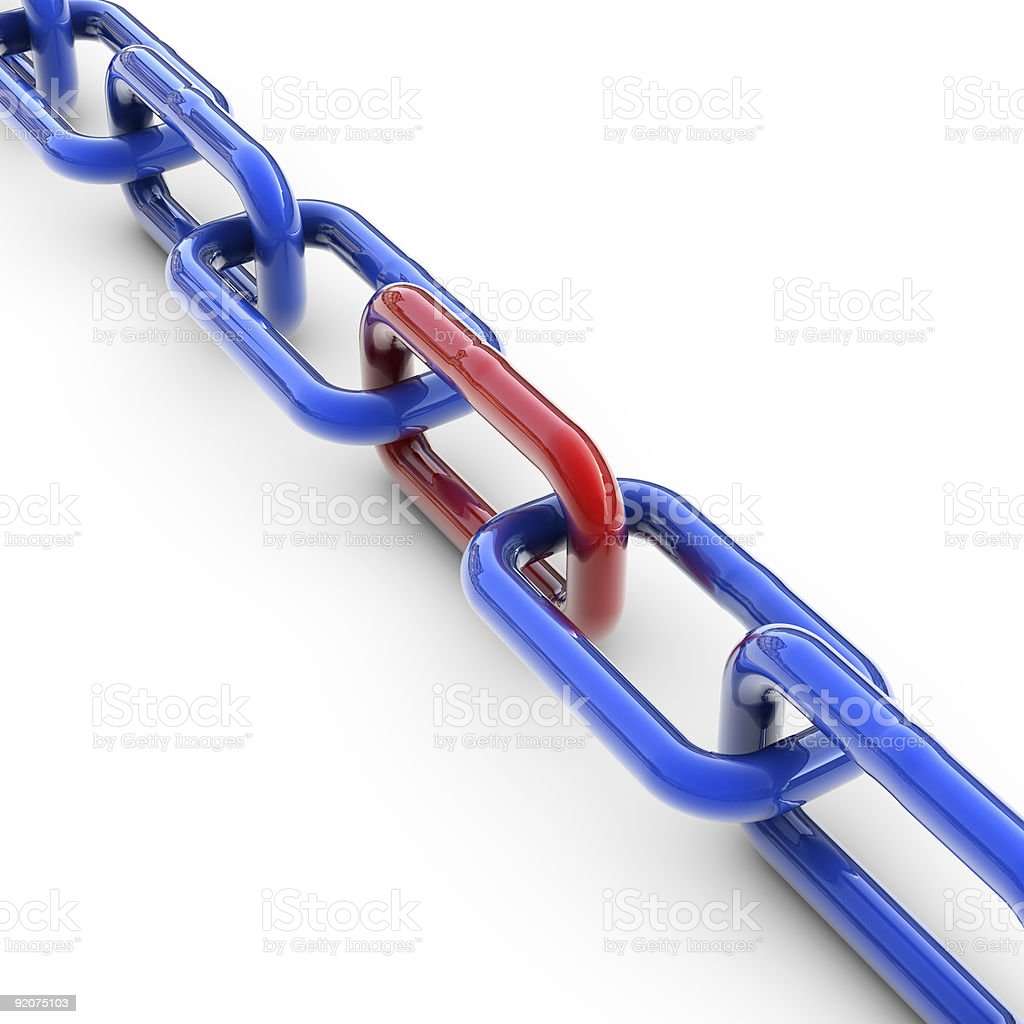 Blue chain with one red link. stock photo