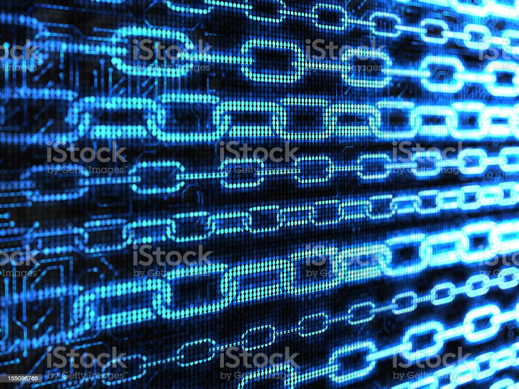 Blue chains in cyberspace on black stock photo