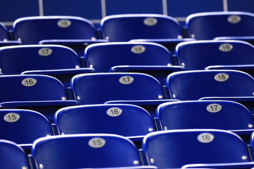 171581046 istock photo Blue chairs for stadium seating 179077166