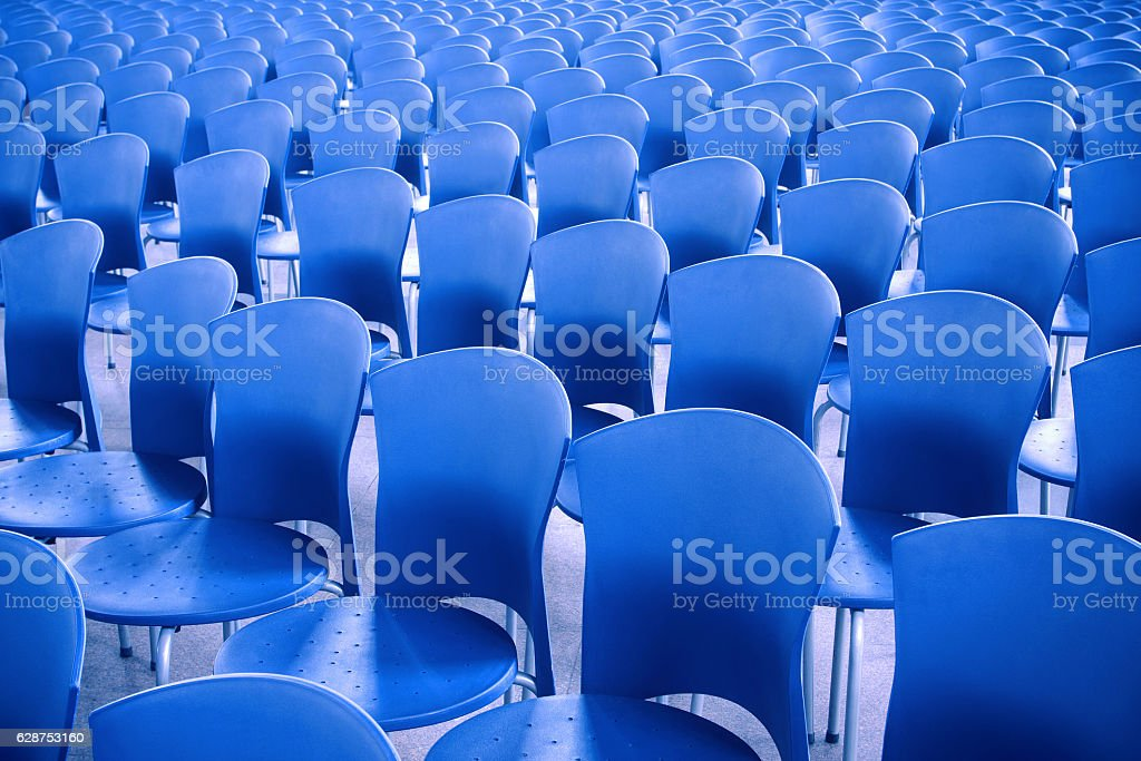 Blue chairs in the meeting room stock photo