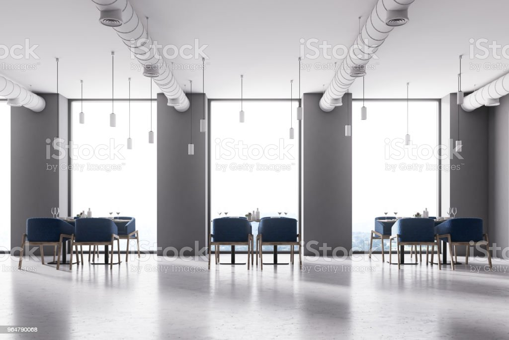 Blue chairs loft cafe interior royalty-free stock photo