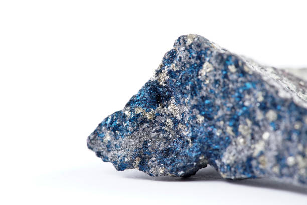 Blue Chalcopyrite Mineral Sample of blue chalcopyrite mineral isolated on white. mineral stock pictures, royalty-free photos & images