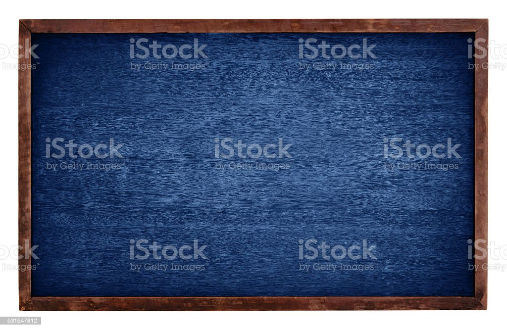 Blue chalk board isolate on white background stock photo