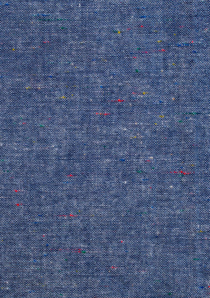 Blue Chambray Fabric in detail. stock photo