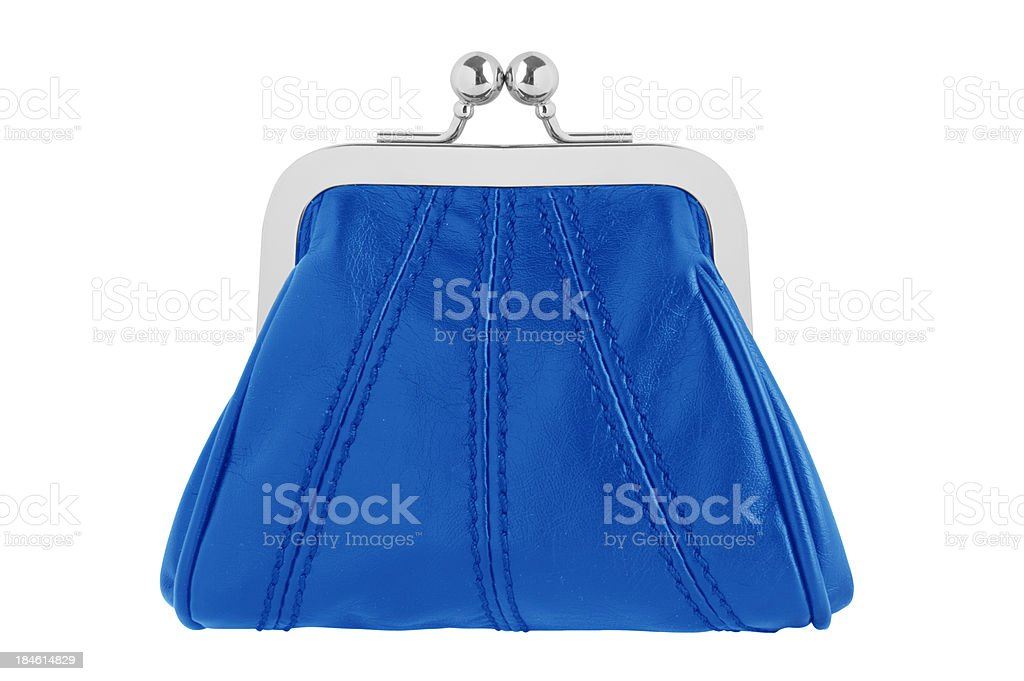 Blue changing purse stock photo