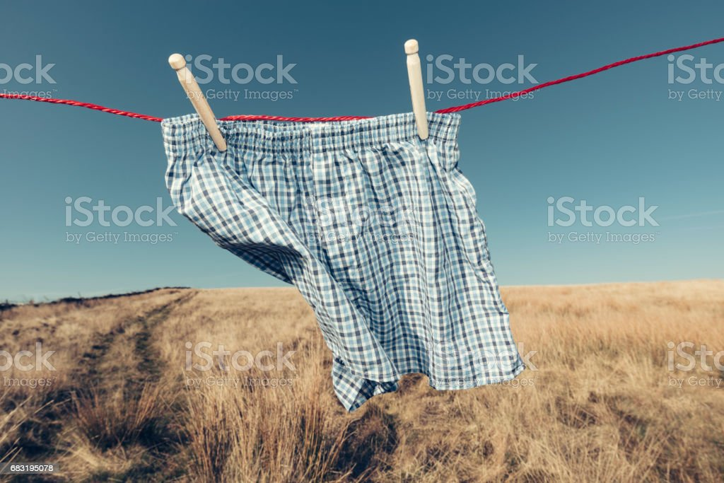 Blue checked Boxer Shorts on a washing line, rural setting. stock photo