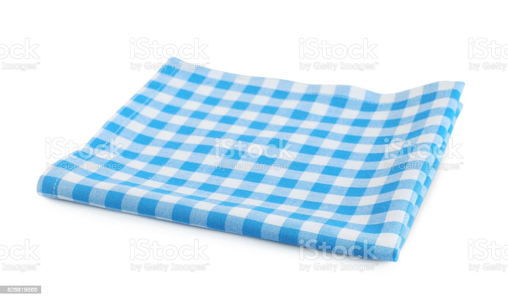 Blue checkered cloth isolated on white. stock photo
