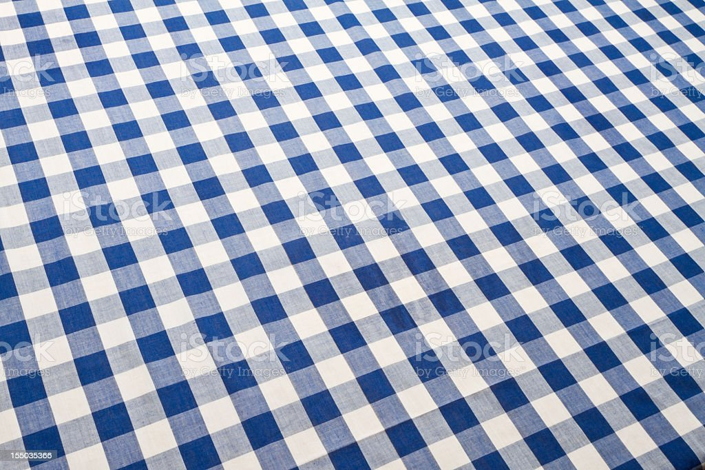 Blue Checkered Gingham Table Cloth stock photo