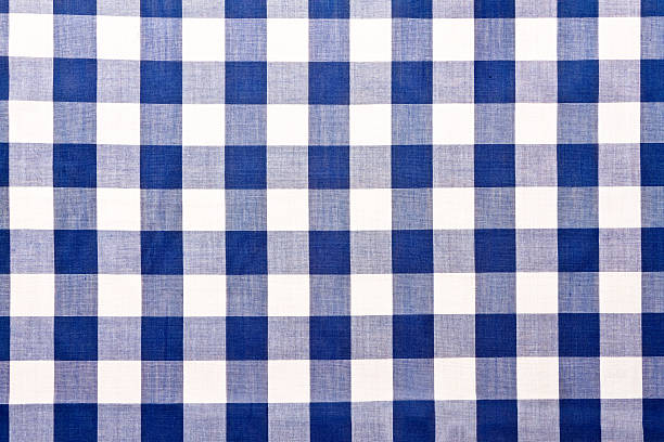 Blue Checkered Gingham Table Cloth Close POV image of a Blue checkered gingham cloth showing lines of perspective into the distance. plaid stock pictures, royalty-free photos & images