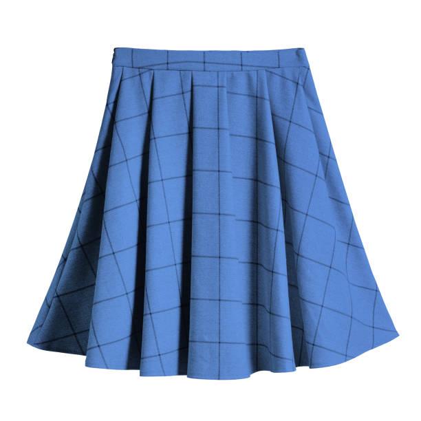 blue checkered pleated cotton midi skirt isolated - spódnica zdjęcia i obrazy z banku zdjęć
