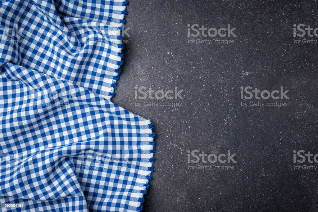 Blue checkered tablecloth stock photo