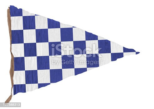 istock Blue checkered Triangle Pennant 172388313