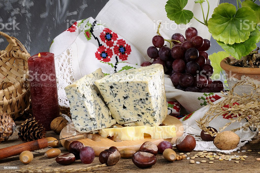 blue cheese and red grapes royalty-free stock photo