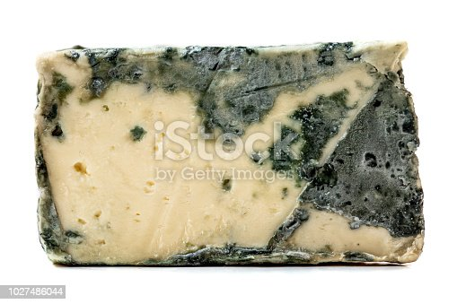 Blue cheese Gorgonzola isolated on a white background. Closeup