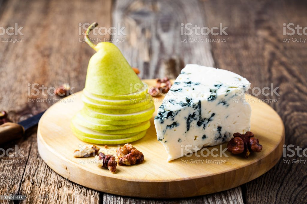Blue cheese with fresh pear stock photo