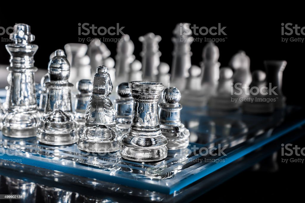 Blue Chessboard In The Dark With Reflection #1 stock photo