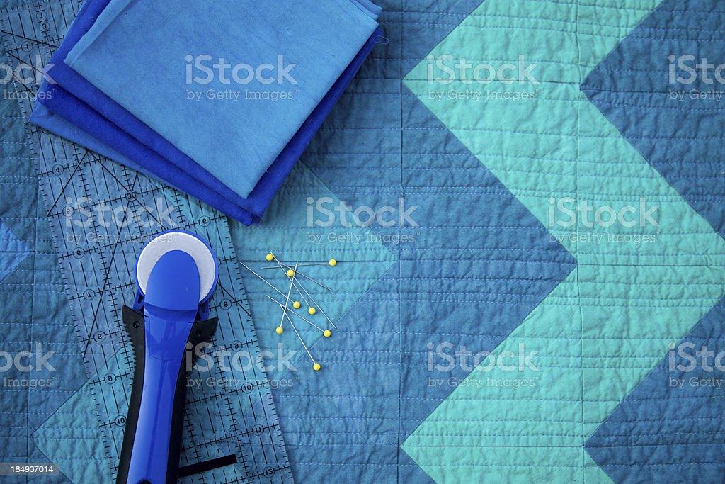 Blue Chevron Quilt stock photo