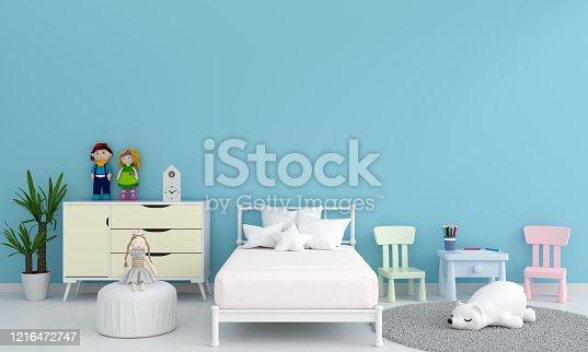 1213866189 istock photo Blue child bedroom interior for mockup, 3D rendering 1216472747