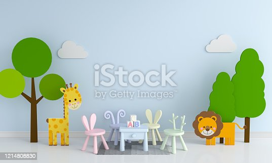1213866189 istock photo Blue child living room interior for mockup, 3D rendering 1214808830
