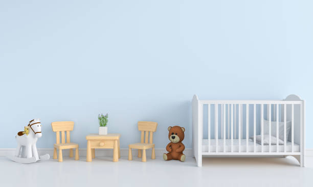blaue kind innenraum für mockup, 3d rendering - pferde schlafzimmer stock-fotos und bilder