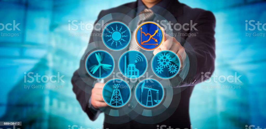Blue Chip Manager Monitoring Energy Efficiency stock photo
