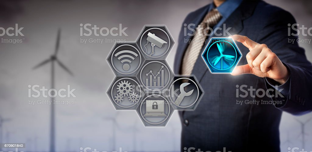 Blue Chip Manager Operating Wind Farm via IoT stock photo