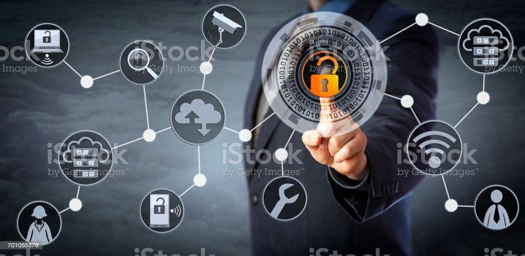 Blue Chip Manager Unlocking Access Control - Foto stock royalty-free di Accessibilità