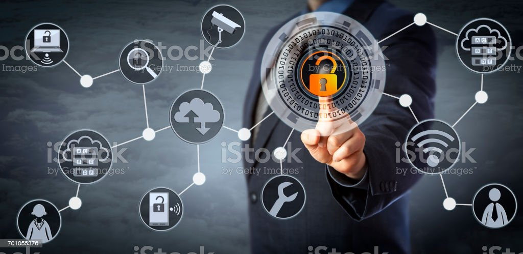 Blue Chip Manager Unlocking Access Control stock photo