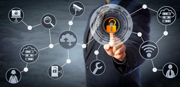 Blue Chip Manager Unlocking Access Control - Fotografie stock e altre immagini di Accessibilità