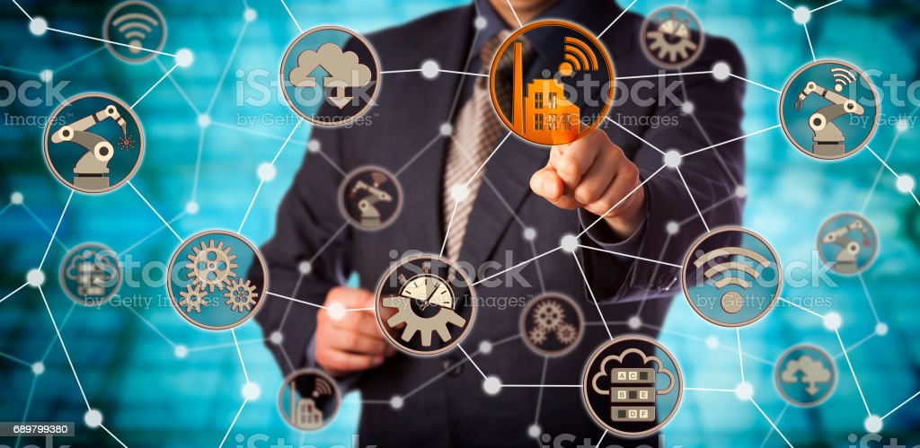 Blue Chip Manufacturer Pushing Smart Factory Icon - Foto stock royalty-free di Adulto