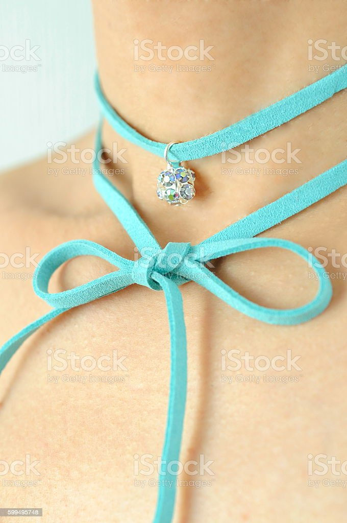 Blue Choker. stock photo