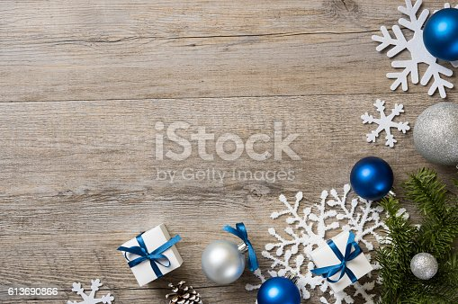 istock Blue christmas background 613690866