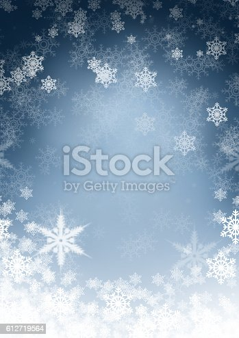 istock Blue Christmas background with snowflake 612719564