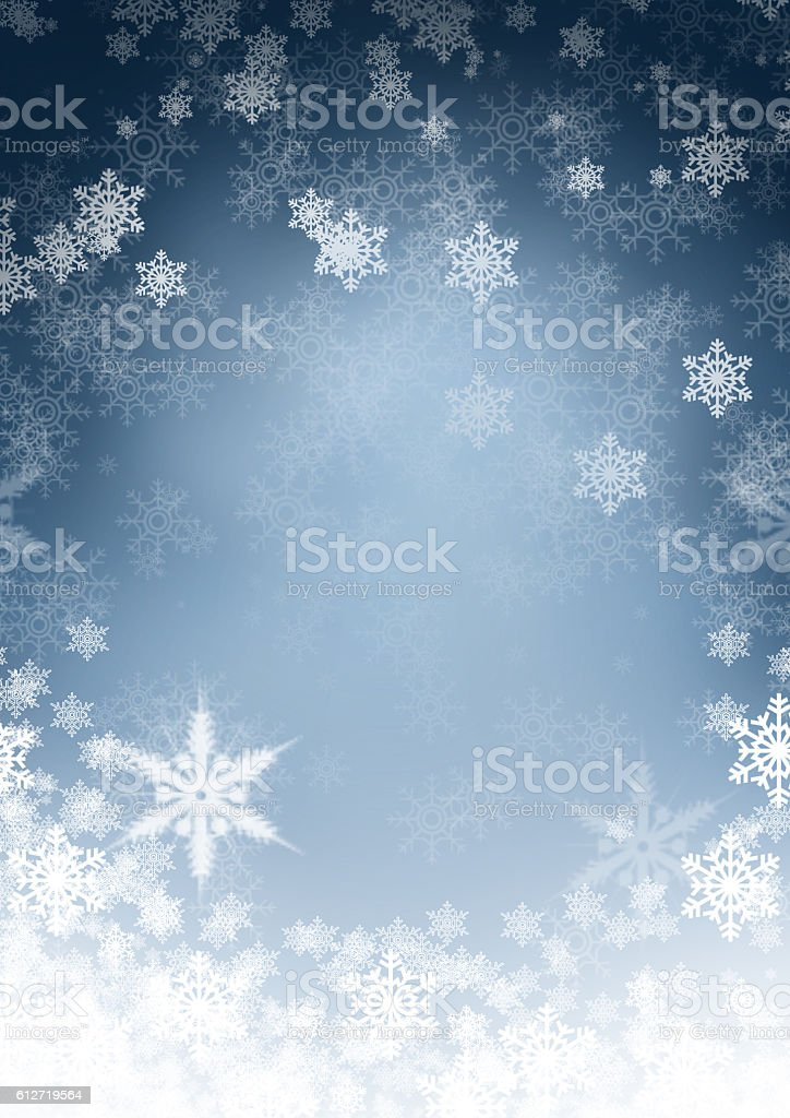 Blue Christmas background with snowflake stock photo