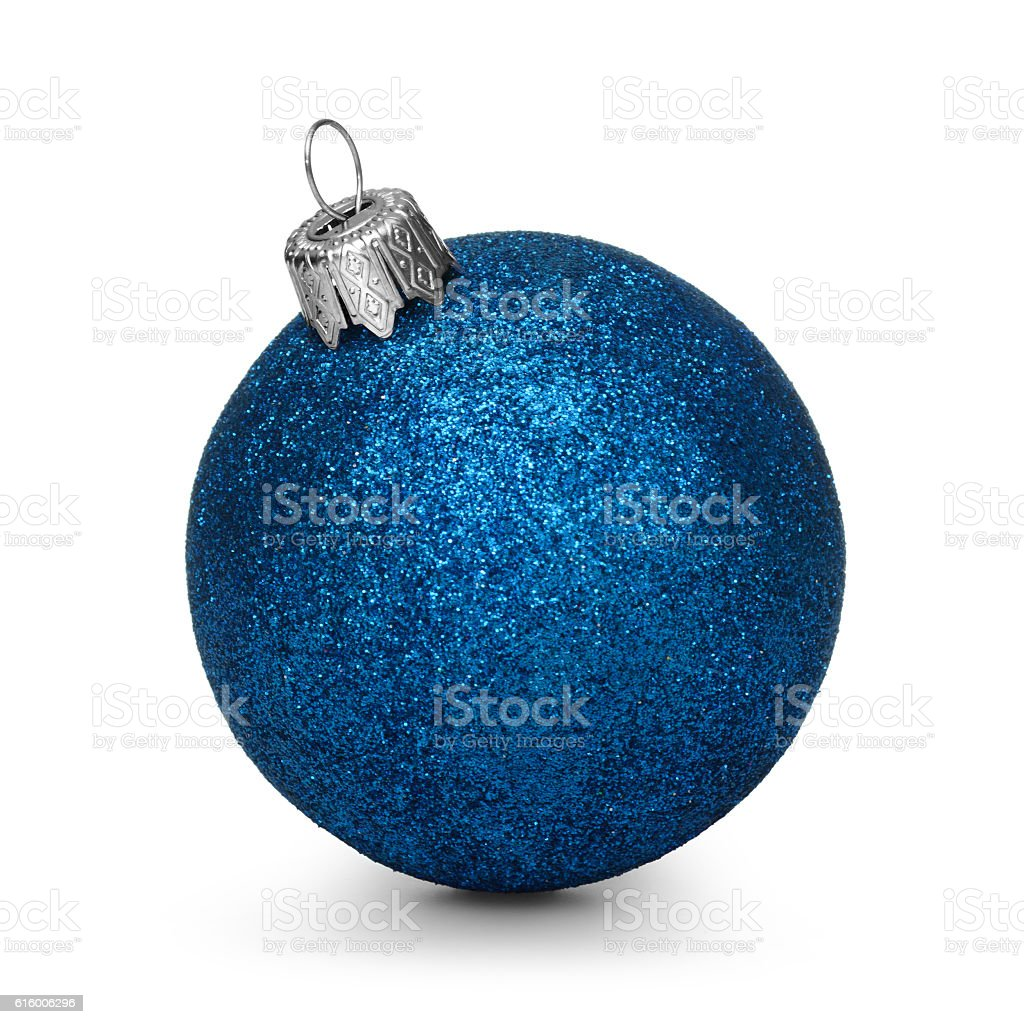 Blue christmas ball isolated on white background - Photo