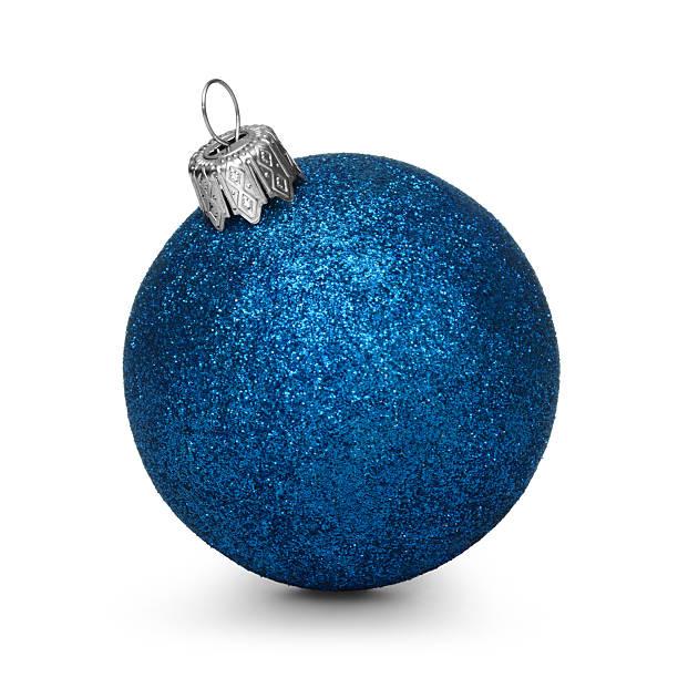 Blue christmas ball isolated on white background - Photo
