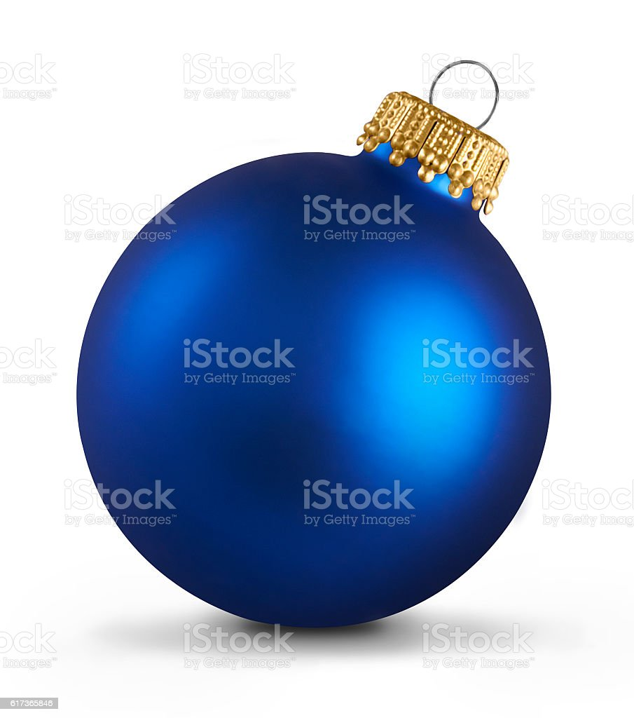 Blue christmas ball over white background stock photo