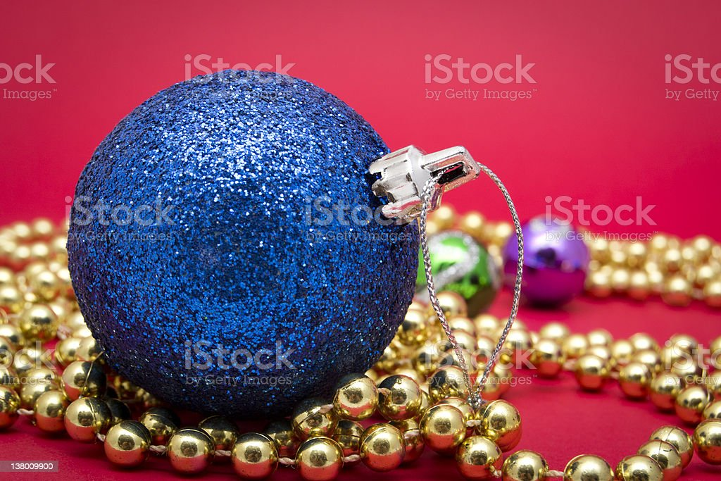 Blue Christmas Ball  with Decorative Ornaments royalty-free stock photo