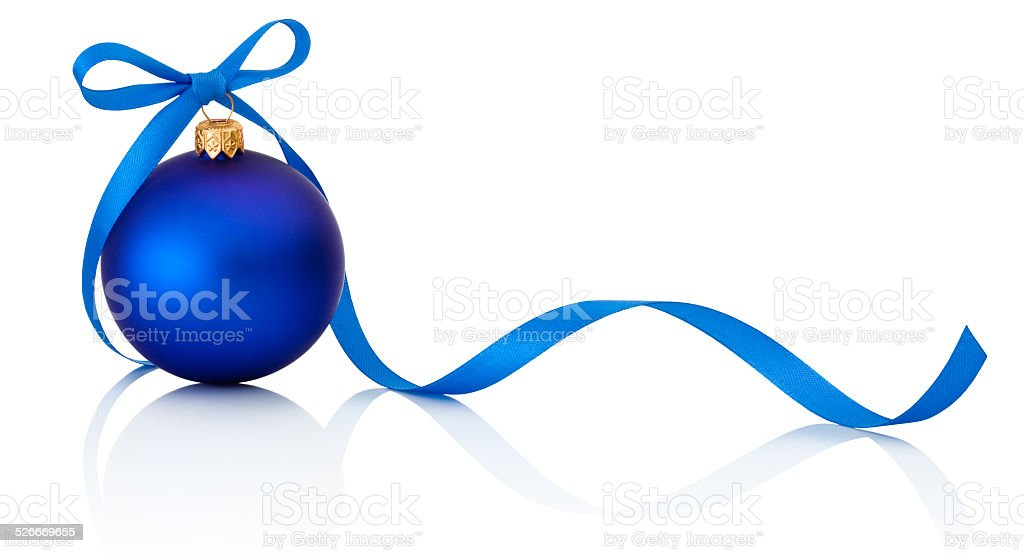 Blue Christmas ball with ribbon bow Isolated on white background stock photo